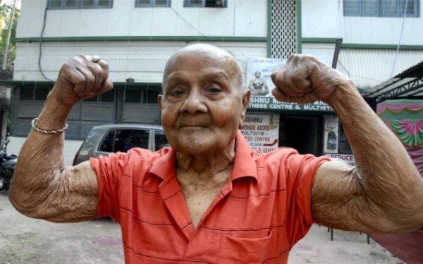 Well past his century and still lifting weights!