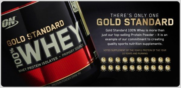 Optimum Nutrition Gold Standard Whey is a popular supplement.